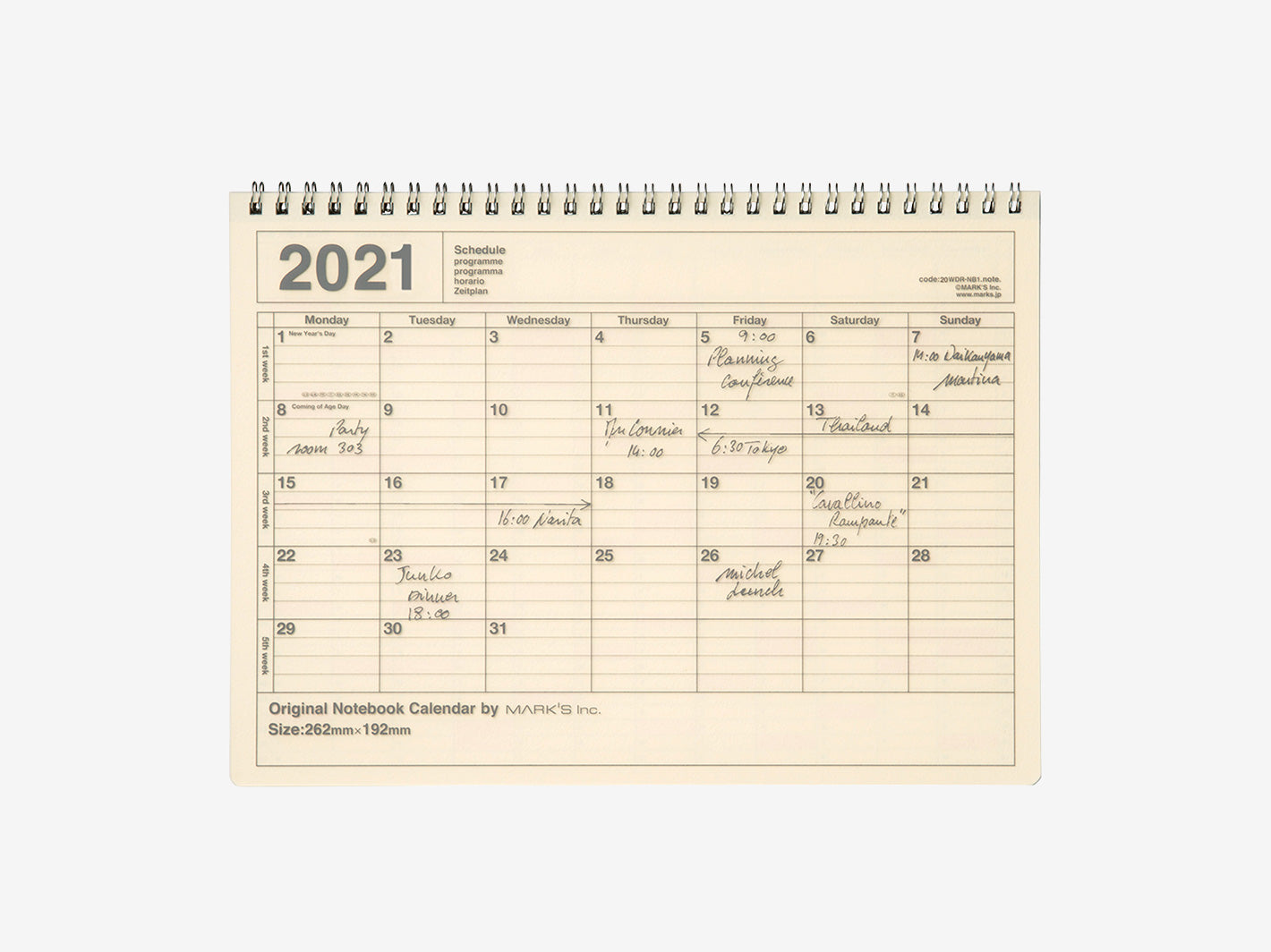 2021 Notebook Calendar Medium Ivory