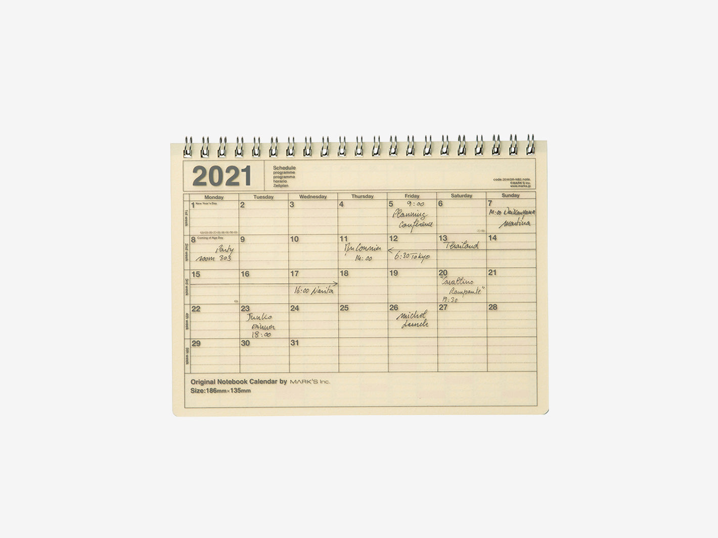 2021 Notebook Calendar Small Ivory