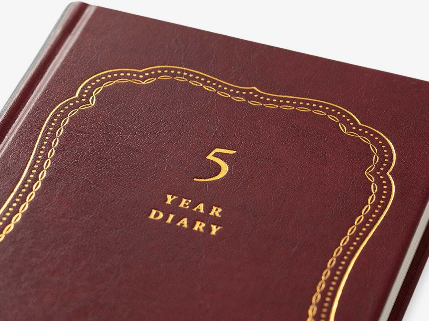 5 Year Diary Burgundy - Recycled Leather