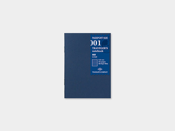 001. Lined Refill Traveler's Notebook Passport Size