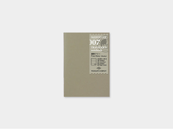 007. Free Diary Weekly Midori TRAVELER'S notebook Passport Size