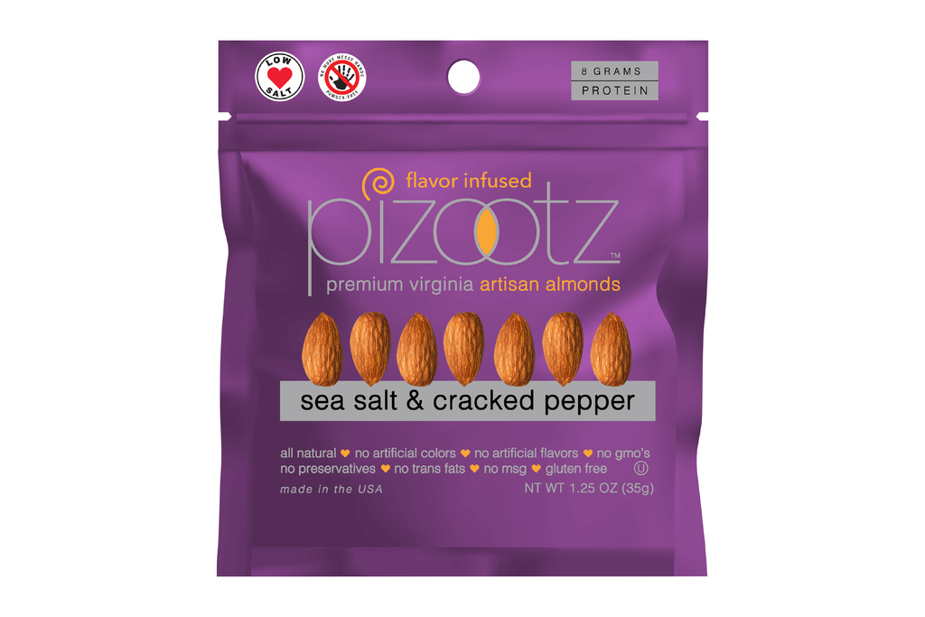 SEA SALT & CRACKED PEPPER - Almonds - 25 Pack 1.25oz Bags