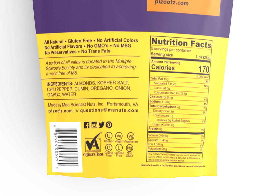 5 oz Bag of Baja Taco Almonds Nutritional Information Close Up