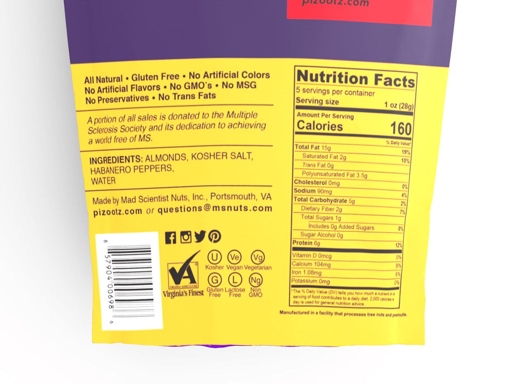 5 oz Bag of Habanero Almonds Nutritional Information Close Up