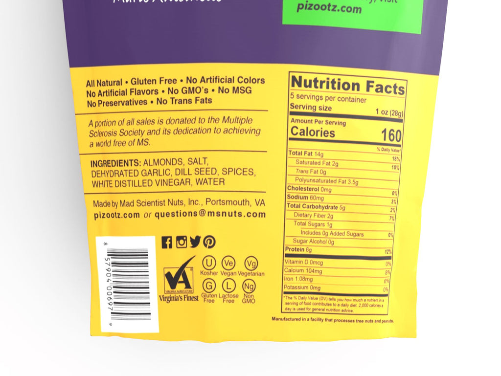 5 oz Bag of New York Dill Pickle Almonds Nutritional Information Close Up
