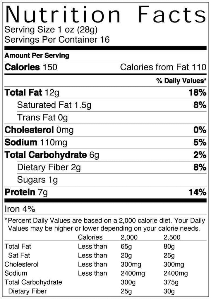 16 oz Bag of Baja Taco Peanuts Nutritional Information