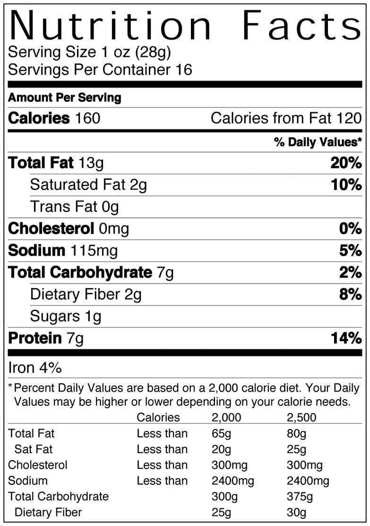 16 oz Bag of Blazing Buffalo Peanuts Nutritional Information