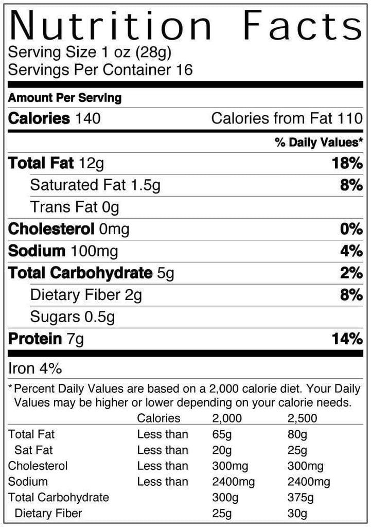 16 oz Bag of Sea Salt Peanuts Nutritional Information