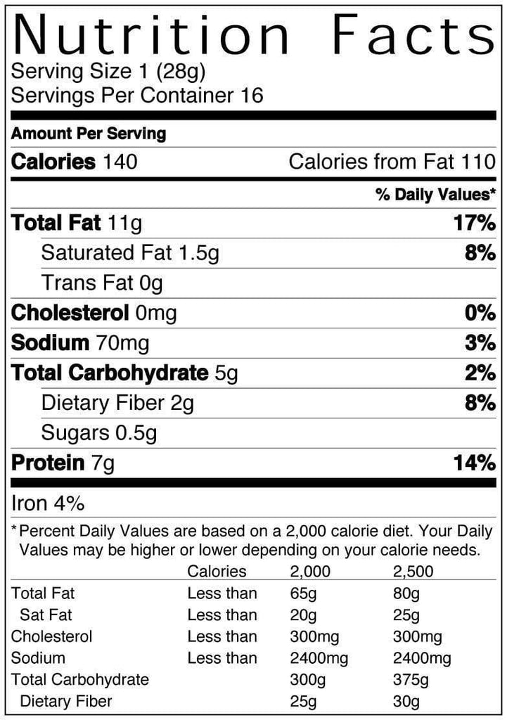 16 oz Bag of Sea Salt and Cracked Pepper Peanuts Nutritional Information