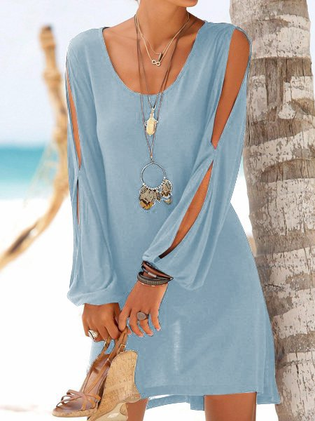 Damen Slim Split Sleeve Sommerurlaub Strandkleid