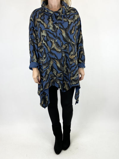 Lagenlook Animal Print Cowl Top in Denim. code 50002.
