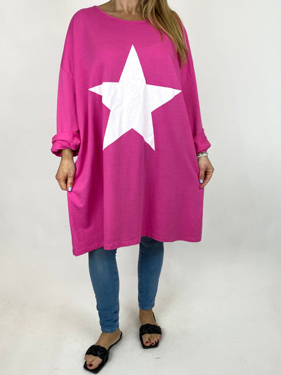 Lagenlook Solo Star Print Sweatshirt Top Tunic in Fuchsia. Code 9482.