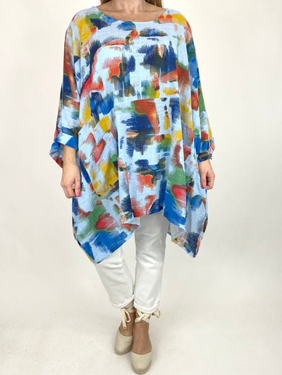 Lagenlook Artist Patterned Summer Top in Sky. code 10077.