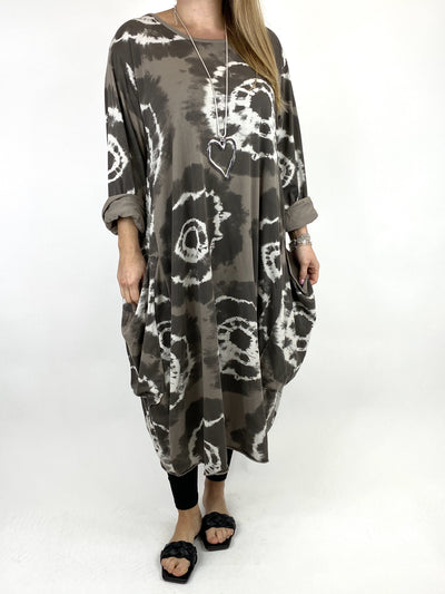 Lagenlook Celeste Tie-dye Side Pocket Tunic in Mocha.code 9904.