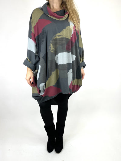Lagenlook Cowl Neck Paint Splash Print Top in Charcoal. code 9810.