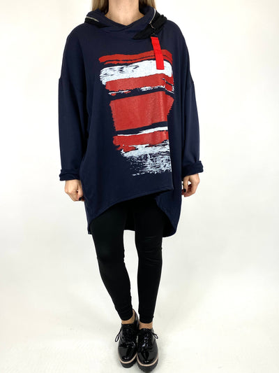 Lagenlook Stripe Paint Hood Top in Navy. code 91152.