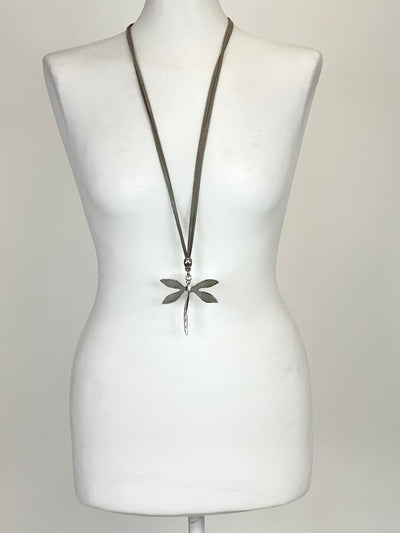 Lagenlook Grey Dragonfly Necklace .code N980.