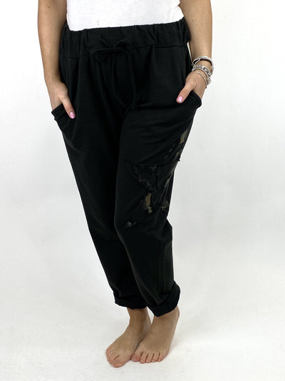Lagenlook Regular Size Cotton Star pant in Black. code 9021.