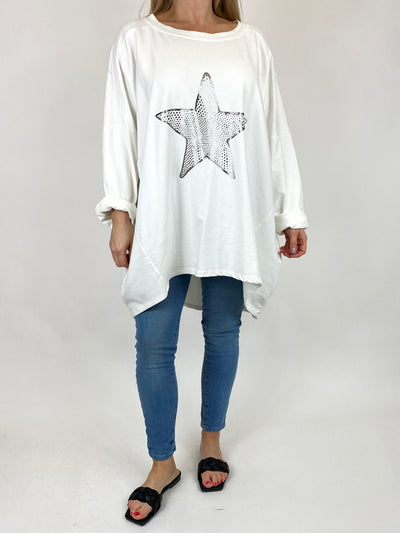 Lagenlook Dot Star sweatshirt in White. code 50303.