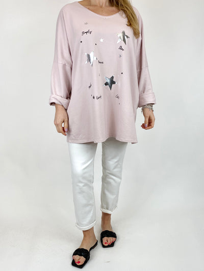 Lagenlook Mini Stars V- Neck Top in Pale Pink. code 50300.