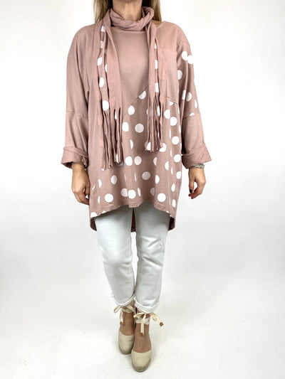 Lagenlook Molly Dot Print Scarf Top in In Pastel Pink. code 10306.