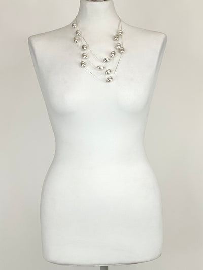 Lagenlook  Silver Bead short Necklace .code XL140s.