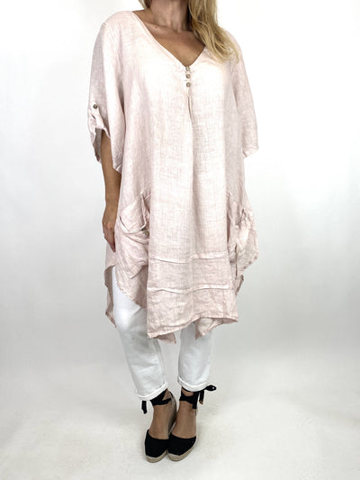 Lagenlook 3 button Linen Top in Pink. code 6276.