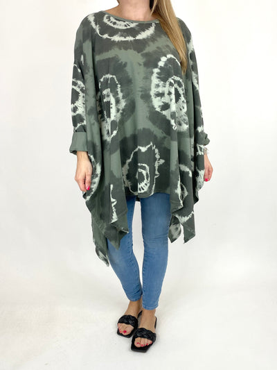Lagenlook Margot Tie-dye Top in Khaki. code 8407.