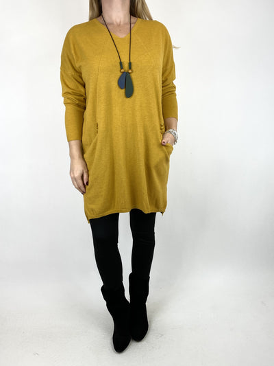 Lagenlook Tib Three Button Detail Jumper in Mustard. code 2606.