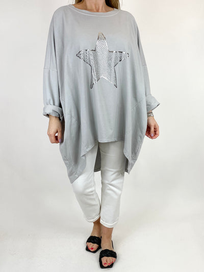 Lagenlook Dot Star sweatshirt in Pale grey. code 50303.