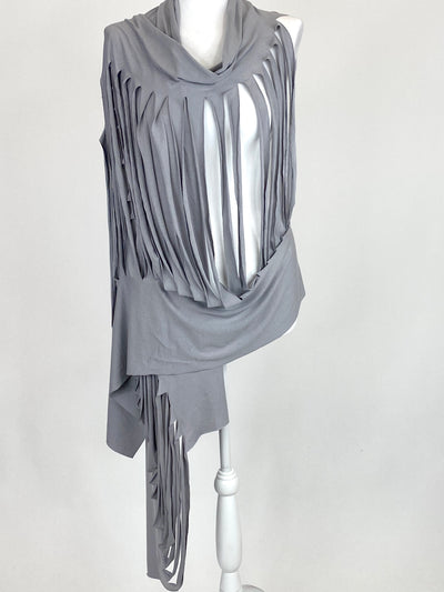 Lagenlook Ladder Scarf Wrap in Grey. code bc2.