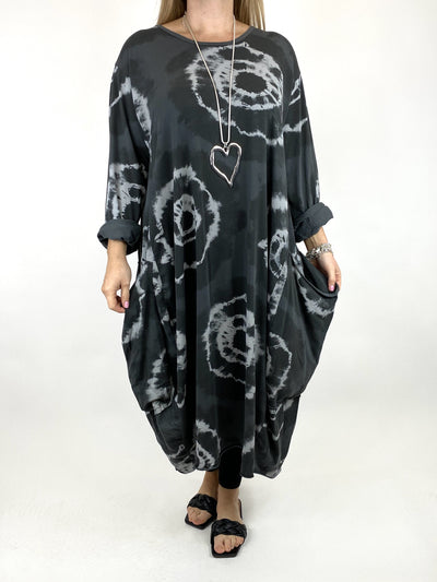 Lagenlook Celeste Tie-dye Side Pocket Tunic in Charcoal.code 9904.