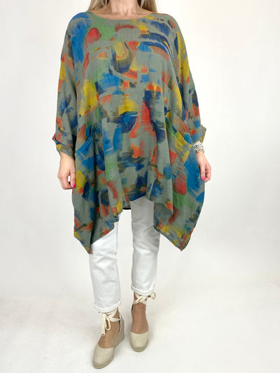 Lagenlook Artist Patterned Summer Top in Khaki. code 10077.