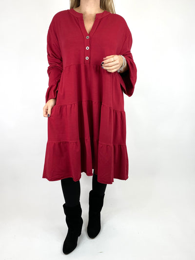 Lagenlook Olivia Frill V- Neck Top in Wine. code 10538.