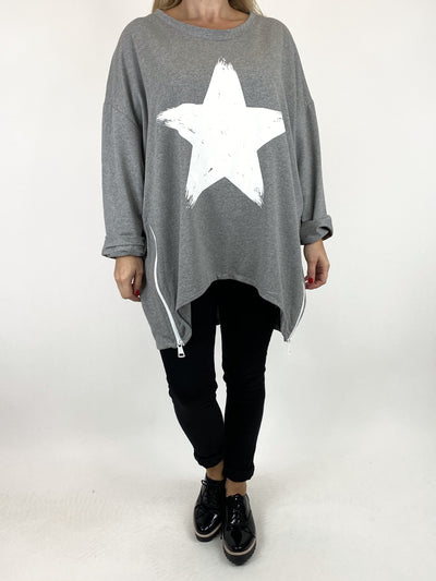 Lagenlook Star Zip Sweatshirt in Grey Marl .code 91148.