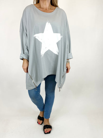 Lagenlook Brightest Star Print Sweatshirt Top in Pale Grey. code 10469.
