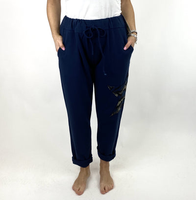 Lagenlook Regular Size Cotton Star pant in Navy. code 9021.