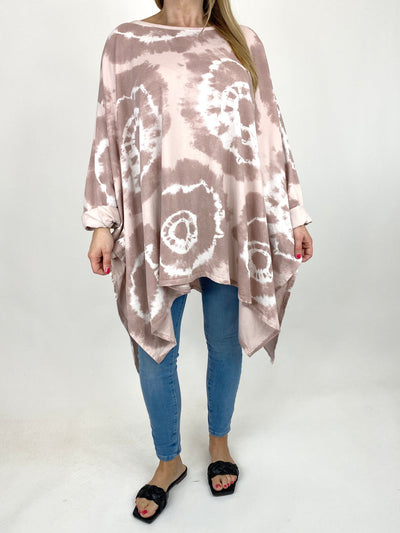 Lagenlook Margot Tie-dye Top in Pale Pink. code 8407.