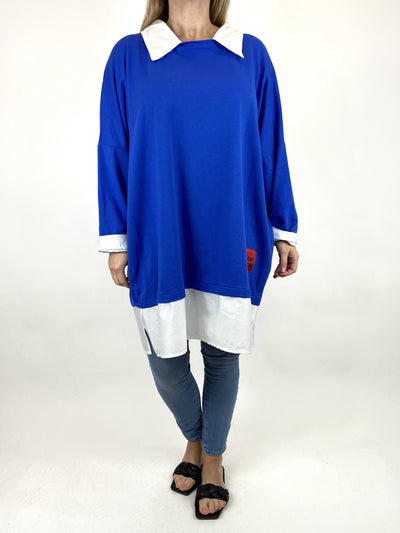 Lagenlook Cassie Cotton Shirt Top in Royal Blue. code 91205.