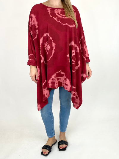 Lagenlook Margot Tie-dye Top in Wine. code 8407.