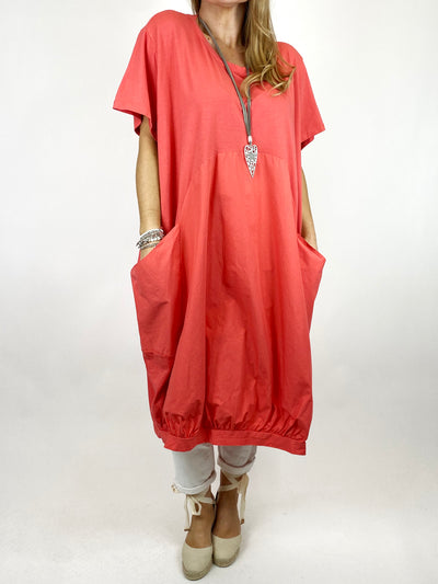 Lagenlook Laya Circle Shape Tunic in Coral. code 1688.
