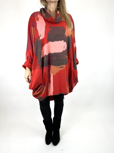 Lagenlook Cowl Neck Paint Splash Print Top in Red. code 9810.