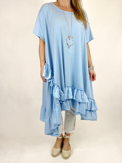 Lagenlook Madison Frill Tunic in Sky. code 1672.