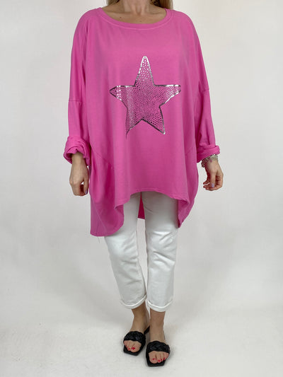 Lagenlook Dot Star Sweatshirt in Fuchsia. code 50303.