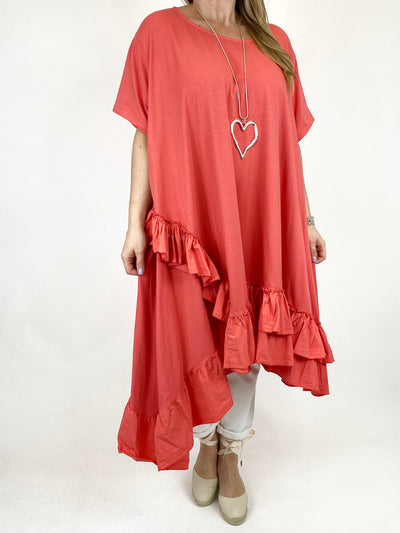 Lagenlook Madison Frill Tunic in Coral. code 1672.