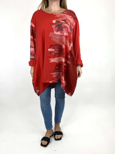 Lagenlook Hetty Flower Top in Red. code 90646.