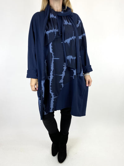 Lagenlook Dippy Scarf Sweatshirt in Navy. code 10511.