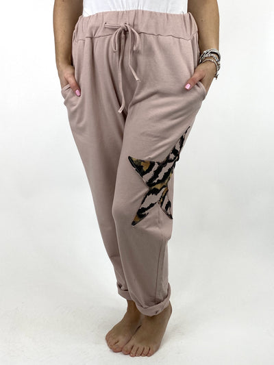 Lagenlook Regular Size Cotton Star pant in Pink. code 9021.