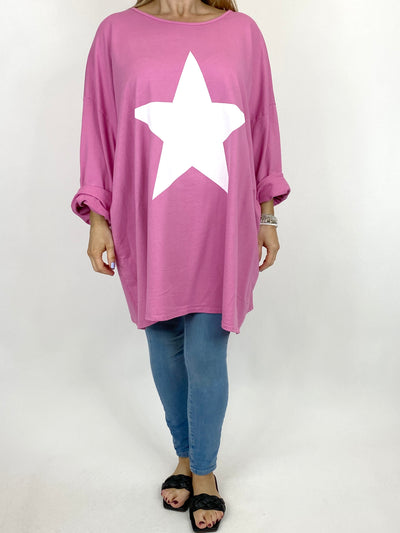Lagenlook Solo Star Print Sweatshirt Top Tunic in Bubble Gum Pink. Code 9482.