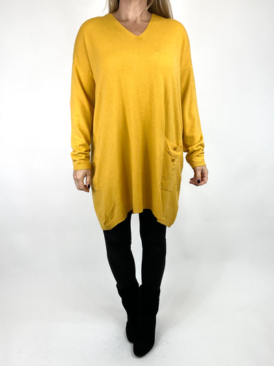 Lagenlook Jute Pocket V-neck Jumper in Mustard. code 2712.
